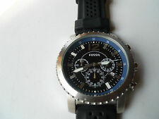Fossil chronograph mens black silicon rubber band,Analog,battery watch.Jr-1262