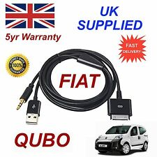 Fiat QUBO Para Apple iphone 3gs 4 4s iphone iPod USB 3.5mm Aux audio Cable Negro