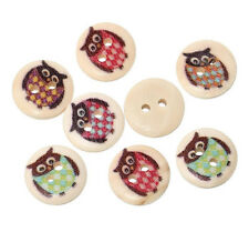 "Pkg of 10 OWLS 2-hole Wooden Buttons 5/8"" (15mm) Scrapbook Doll Crafts (4880)"