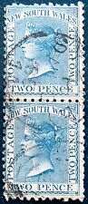 NEW SOUTH WALES 1882 2d Queen Victoria USED PAIR Scott62 CV$2 ♣♣RARE♣♣