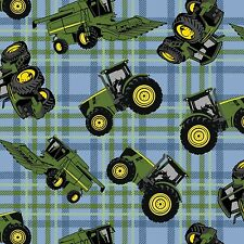 by the 1/2 yd~John Deere Tractor on blue green  Plaid~Springs Cotton Fabric