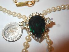 HOBE Vintage Majorca Pearl NECKLACE Art Deco Revival Green Rhinestone Enhancer