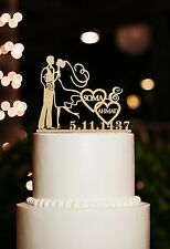 Wedding Cake Topper Personalized Name and Date Couple Silhouette Toppers Rustic