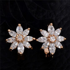 1 pair Tempting Flower Earring 18K Gold Plated White Cubic Zirconia Hoop Earring