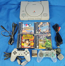 Playstation PS1 SCPH-9001 Console Combo Lot WORMS Tony Hawk Army Men 3D WCW NWO