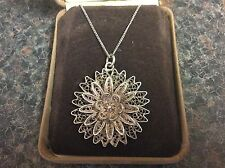 Vintage Art Deco Silver Filigree Raised Flower Pendant & Italian Silver Chain