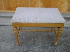 Old Vtg Wood Padded BENCH Furniture Piano Stool Chair Ottoman 4-Leg