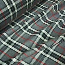 Grey, Black & White Poly Viscose Tartan Red Grid Fabric *Per Metre