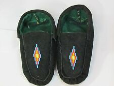 NATIVE AMERICAN BEADED SLIPPER MOCCASINS COMFY LINED 5 1/2 INCHES BLUE DIAMOND