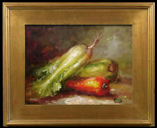 High quality oil painting of beautifully painted vegetable & red pepers