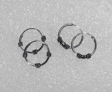 US Seller 2 pairs 925 Sterling Silver 14mm Bali Hoop Round Earring