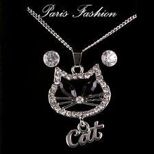 Luxus Set Halskette Kette Katze Anhänger Ohrringe Paris Kristall Box Strass