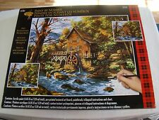 2 LARGE PLAID PAINT BY NUMBER KITS - ROCKY CREEK MILL - SPRING BIKE 16 X 20 INCH