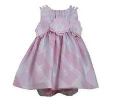 Bonnie Jean Girls Rosa controllare Metallico Fiore DRESS NEW TAG 3/4 anni (4t)