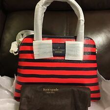 NWT Authentic Kate Spade Julia Street Stripe Maise $298 Rich Navy/Cherry liqueur