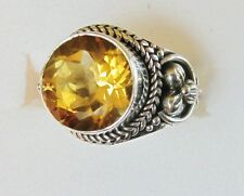 Citrine Cigar Band Style Ring, Sterling Silver, size 6 -- 4.23cts