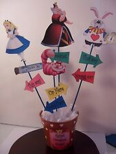 Alice in Wonderland Theme Centerpiece-About 1 foot tall-Handmade-One Sided Pics