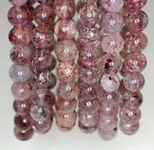9MM RED STRAWBERRY LEPIDOCROCITE QUARTZ GEMSTONE GRADE AAA ROUND LOOSE BEADS 7""