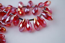 Hot Loose 10pcs Teardrop Glass Crystal Spacer Beads Craft Jewelry Finding 8x16mm