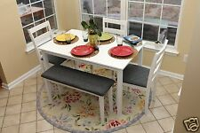 5pc WHITE Dining Table Set Dinette Chairs Bench kitchen nook breakfast bar NEW