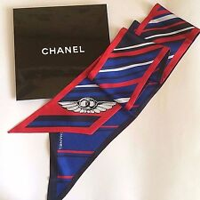 NEW AUTHENTIC CHANEL WINGS STRIPED MULTICOLOR BLUE 100% SILK SCARF TIE BANDO