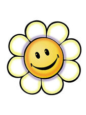 25 Retro Flower Power Smily Face Daisy Yellow Wallies Wall Cutout Sticker Decals