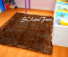 "58"" X 72"" Grizzly Bear Faux Fur Rectangle Area Rug Accents Decor Home Carpet"