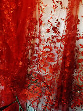Bridal Wedding Red Heavy Embroidered Flower Net Lace Fabric BTY