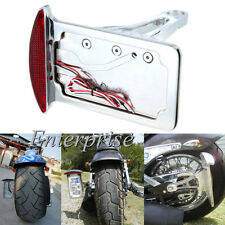 Side Mount Vertical License Plate Holder Bracket Tail Light For Harley Custom