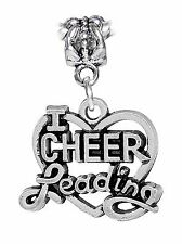 I Heart Cheerleading Cheerleader Love Cheer Gift Dangle Charm for Euro Bracelets