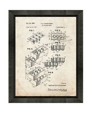 Lego Toy Building Block Patent Print Old Look in a Beveled Black Wood Frame