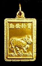LOOK Chinese OX Zodiac CAPRICORN Gold Plated Charm Silver
