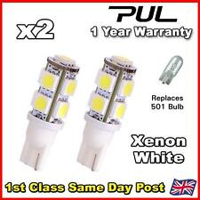 2 x 9 SMD LED CAR SIDE / INTERIOR LIGHT BULBS T10 W5W 501 194 - XENON WHITE