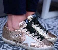 Golden Goose Deluxe Brand Gold Glitter Green White Sneaker Trainers Size 36 3