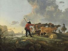 AELBERT CUYP DUTCH HERDSMEN TENDING CATTLE OLD ART PAINTING POSTER BB4753A