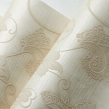 Damask Floral Cream Luxury Glitter Wallpaper Beige Free Shipping HT