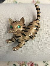 Breathtaking Rare Crown Trifari Black Striped Gold Cat Brooch Intense Green Eyes