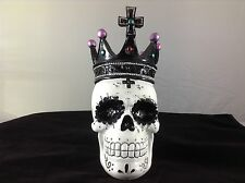 Day Of The Dead/ Dia De Los Muertos Sugar Skull with Crown Candle Holder - NEW