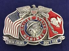 "Vintage United States US MARINE CORPS BELT BUCKLE USMC ""These Colors Don't Run"""