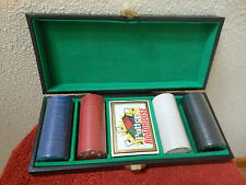 Vintage Poker Set with Chips and Cards in Potters Roadhouse Case