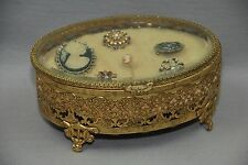 Victorian Gold Filigree Hinged Beveled Glass Jewelry Box Casket Brooch Cameo Pin