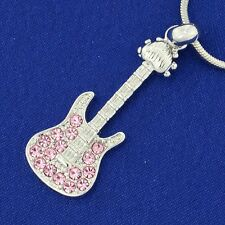 W Swarovski Crystal Pink Electric Guitar Rock Music Pendant Chain Necklace Gift
