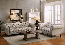 ROUSSEAU-New Transitional Taupe Microfiber Sofa Couch Set Living Room Furniture