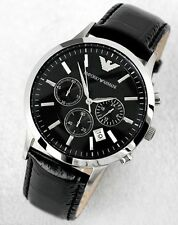 Orologio Armani AR2447 Nuovo Uomo Nero Watch Chrono Black New Pelle Leather
