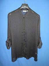 Susan Graver XL Black White Polka Dot Tunic Shirt Sheer Rolled Sleeve Cuffs QVC