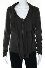 Elie Tahari Brown Wool Long Sleeve Ruffled Zipper Front Cardigan Sweater Size S