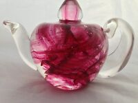 SELKIRK GLASS Scotland / TEAPOT PAPERWEIGHT / Signed 1991 & label