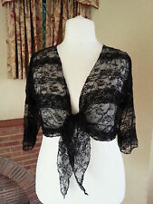BLACK SHIMMER LACE SEQUIN TIE SHRUG PER UNA M&S OSFA L 14 16 18 20