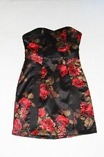 Junior Woman's Black & Red Floral Strapless Cocktail GUESS Dress 7 Asian/ Orient
