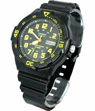 Casio MRW200H-9B 100M Black Diver Classic Sports Watch Resin Band YELLOW New